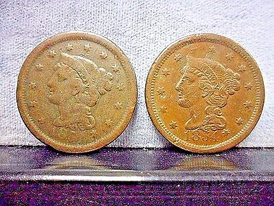1854 VF & 1851 F Braided Hair Large One Cent 2 Coins 1854 Very Fine & 1851 Fine