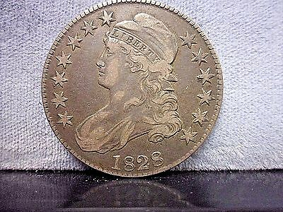 1828 Capped Bust Half Dollar, Very Fine VF Silver 50C Coin **LOOK Very Nice**