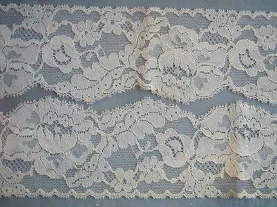 """5 Yards-VTG-White Nylon Sewing Lace-Trim-2-5/8"""" Wide-Scallop Edge-Floral Pattern"""