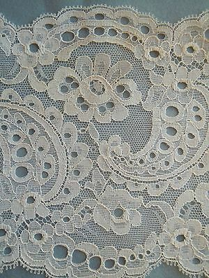 "2+ Yards-VTG-White Nylon Sewing Lace-Trim-5"" Wide-Scallop Edges-Made in France"