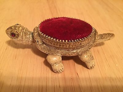 Vintage Turtle Red Pin Cushion Bobble Head/Tail