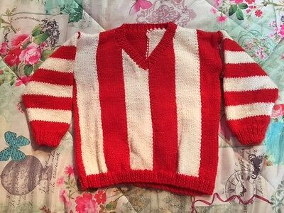 Adorable Baby Boy Red & White Striped Wool Handknitted Football Jumper As NEW