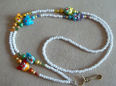 !!  Cat  Lover ! Lampwork  Rainbow  Glass Beads Id Badge Holder Lanyard  New!