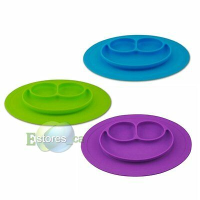Baby Kids One-piece silicone Placemat Food Divided Plate Table Mat Bowl Lovely