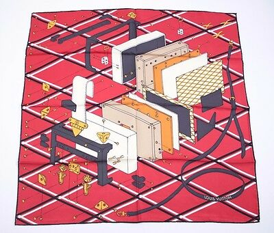 LOUIS VUITTON Red Silk Scarf 100% authentic NEW