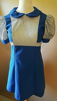 Vintage Womens Dress Blue White Possibly 1940 1950 Handmade Size Small Medium