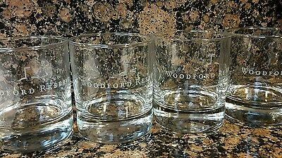 WOODFORD RESERVE Empty GLASSES SET OF 4, KENTUCKY STRAIGHT BOURBON ETCHED ROCKS