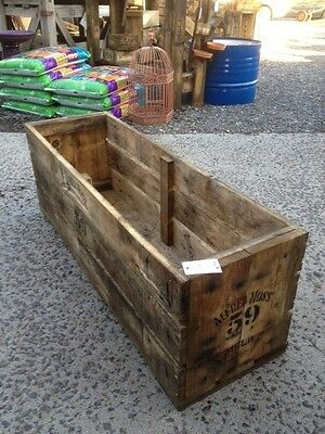 raised garden bed 1m planter box trough wooden rustic fruit crate  patch timber