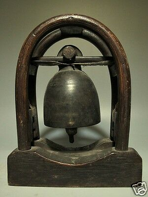 Antique Thai Hill Tribe Classic Bronze Bell On Bamboo Wood Deerskin Stand Lotb1