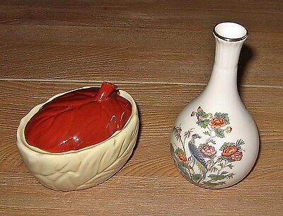 Carlton Ware Leaf Lidded Sugar Bowl Plus Wedgwood Vase
