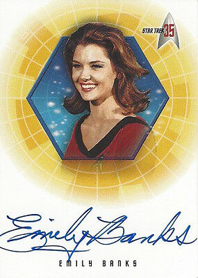2001 STAR TREK 35TH ANNIVERSARY HOLOFEX  - AUTOGRAPH A14 Emily Banks