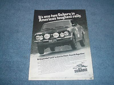 "1973 Subaru GL Coupe Vintage Ad ""One-Two Subaru in America's Toughest Rally."""