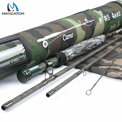 Maxcatch 9FT LW5 4Sec Fast Action IM10 Camo Fly Fishing Rod & Cordura Rod Tube