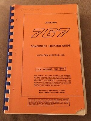 Vintage American Airlines Boeing 767 Component Locator Guide Training Manual