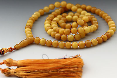 VINTAGE STYLE Egg Yolk Islamic 99 Prayer Beads 6mm BALTIC AMBER 18.2g i160912-1