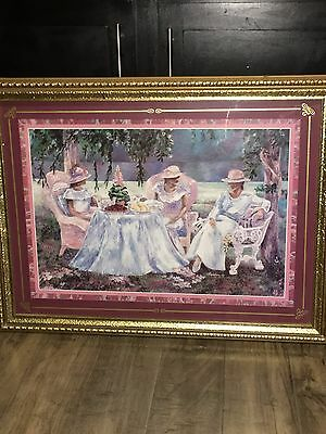 Extremely Rare Large Home Interior Picture Afternoon Tea Gold Frame Gamboa
