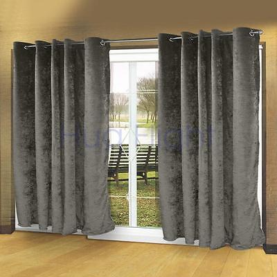 Hug Flight Modern Luxury Velvet Eyelet Curtains Ring Top Fully Lined Grey