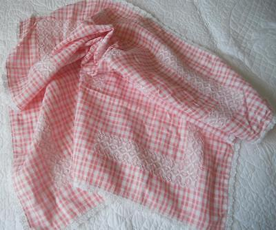 Vintage 1960's Textured Pink White Cotton Gingham Table Cloth Chicken Scratch