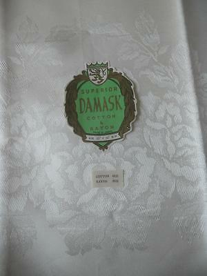 Vintage 1950's 1960's Cream Ivory Colour Cotton Rayon Damask Table Cloth Roses
