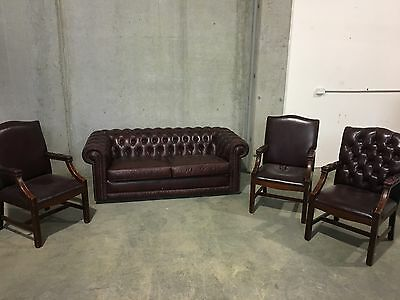 Moran Chesterfield Leather Lounge With 3 Arm Chairs