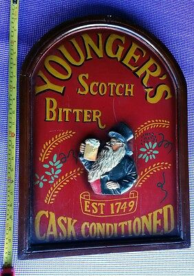 Vintage Younger's Bitter Scotch Cask Conditioned Wall Sign Plaque Barware