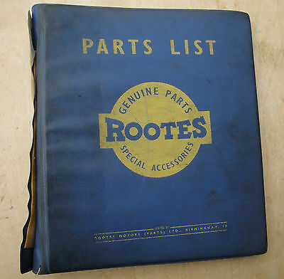 New Humber Hawk Parts List Manual Series IV Rootes Service Division