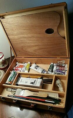 Artist Wood Case Metal Hardware, Palette, Grumbacher Max Paints, Brushes,Tools