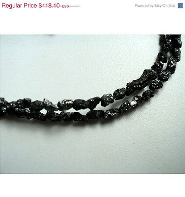 """Natural Rough Raw Conflict Free Black Loose Diamonds 3-5mm Beads 16"""" Strand GK24"""