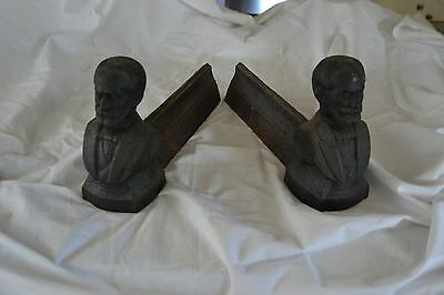 Pair of antique cast iron andirons (firedogs) from France