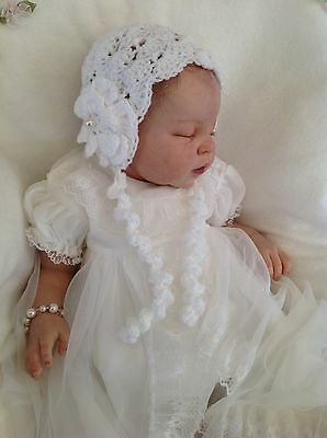 Hand knit/crochet baby hat / bonnet vintage style~christening~ NB to 12 months