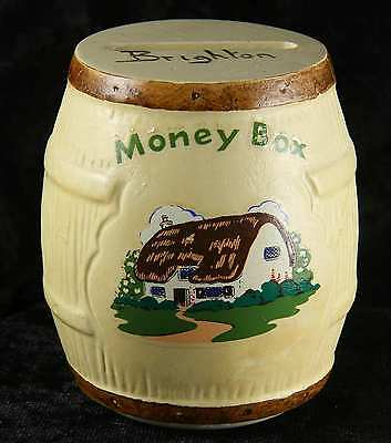 "Manor wear money box in shape of barrel ""Brighton"" in good condition stopper"