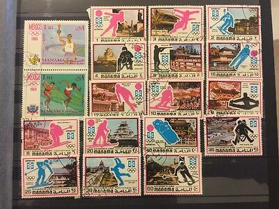 Bahrain Manama Ajman UAE 1972 Stamps Used Olympic Games Sapporo Japan