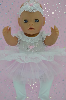 "Play n Wear Doll Clothes For 17"" Baby Born PINK LACE TU TU~TIGHTS~HEADBAND"