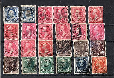 COLLECTION, LOT OF 24 STAMPS. INCLUDES 50 CENT. Wmk. VERY FINE STAMPS.