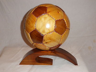 Stunning Large Hand Carved Wood Football On Stand Sculpture / Trophy?.new Wooden