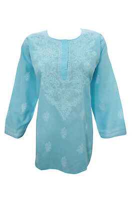 Boho Women Blue Cotton Kurti Embroidered Hippy Ethnic Indian Tunic Blouse L