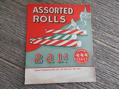 Scarce C1940 Lagoon Confectionary assorted rolls advertising card  Melbourne