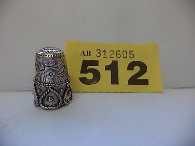 Vintage Continental / Scandinavian 925 Solid Silver Thimble with Frog Decoration