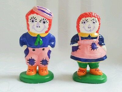 Vintage Raggedy Ann & Andy Ceramic figurine Collectable set Bobbs Merrill