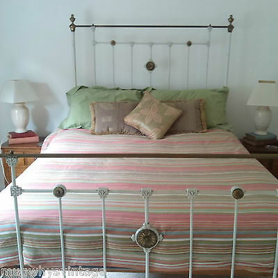 Genuine Antique Brass Wroght Iron Double Bed with Wooden frame Spring Base