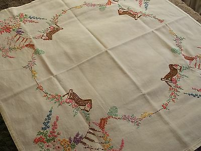 Vintage hand embroidered tablecloth Cottage Garden