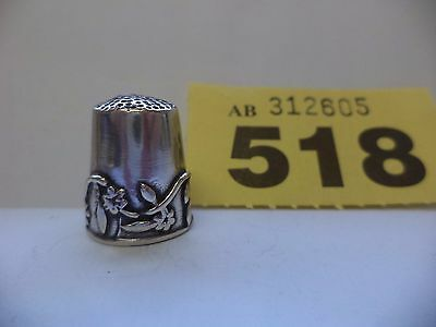 Vintage Italian .800 Solid Silver Thimble with Floral Decoration