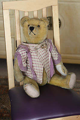 Antique 1920 mohair bear 24 inches. lovely bear. straw filled glass eyes