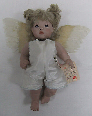 "Unique Porcelain Baby Cherub doll 13 1/2"" 34cm wearing handmade winged outfit"