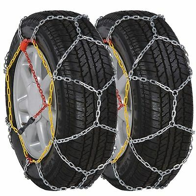 Car Tyre Snow Chains Two Pieces Pair Set Driving Winter Steel Easy Fast Install
