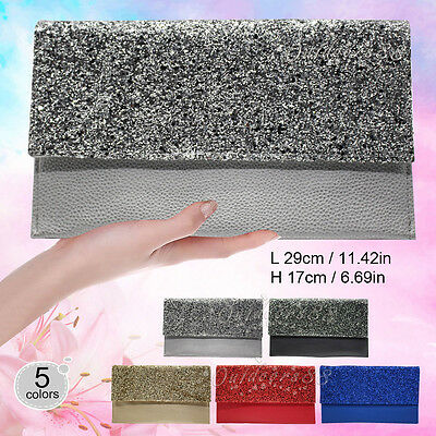 Ladies Glitter Faux Leather Clutch Bag Handbag Oversized Womens Pouch Purse