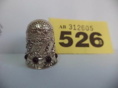 Vintage European .925 Solid Silver Thimble with Black Stone & Floral Decoration