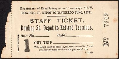 Tram Driver Sydney 1955 Staff Ticket Dowling Depot - Zetlands Term $10