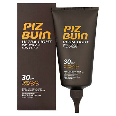 Brand New Piz Buin Ultra Light Dry Touch Sun Fluid 150ml 30 SPF High Non Sticky