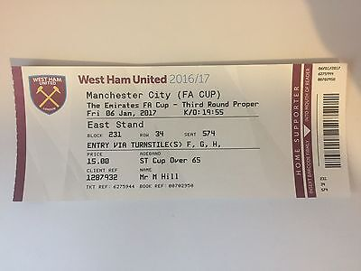 WEST HAM UNITED v MANCHESTER CITY USED FA CUP 3rd ROUND TICKET 6th JAN 17 MINT